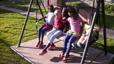 Swinging with the girls.