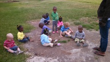 Playing in the dirt with the toddler class.