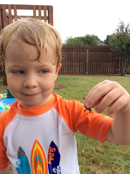 Caedmon and the lizard he caught!
