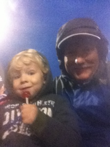 Caedmon and Grandpa at the football game!