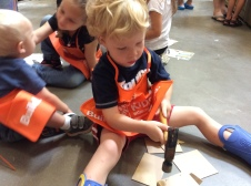 Caedmon at a Home Depot workshop for kids.