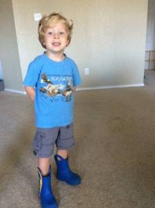 Caedmon in his new blue boots which he wears EVERYWHERE.