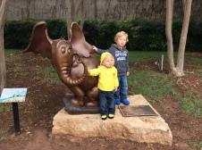 Caedmon and Malakai with the Horton Hears a Who statue.