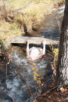 Robert and his crazy tradition of dunking in the creek.