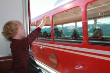 Caedmon saying hi to the train passing us.