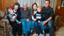Hanging out with Grandpa and Grandma Sue in Atlanta, TX.
