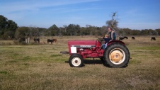 Caedmon actually got to drive the tractor in circles.