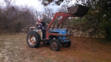 Caedmon and Mr. Pat shaking pinecones with the tractor.