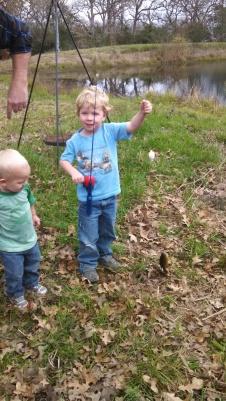 Caedmon caught his first fish!