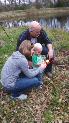 Malakai fishing for the first time.