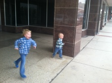 Sorry for the blurry picture, but this is what the boys look like after the Chocolate Gallery.